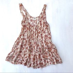 FREE PEOPLE Floral Sleeveless Ruffled Tunic Dress